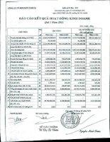 Báo cáo KQKD quý 1 năm 2011 - Công ty Cổ phần Kim khí Thành phố Hồ Chí Minh