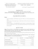 Nghị quyết Đại hội cổ đông thường niên năm 2011 - Công ty Cổ phần Phát triển Nhà và Sản xuất Vật liệu xây dựng Chí Linh