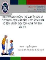 TìNH TRẠNG DINH DƯỠNG, THóI QUEN ăn UỐNG và lối SỐNG của BỆNH NHÂN TĂNG HUYẾT áp tại KHOA nội BỆNH VIỆN đa KHOA ĐôNG HƯNG, THÁI BìNH năm 2015