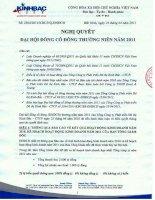 Nghị quyết Đại hội cổ đông thường niên năm 2011 - Tổng Công ty Phát triển Đô thị Kinh Bắc-CTCP