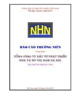 Báo cáo thường niên năm 2010 - Tổng Công ty Đầu tư Phát triển Nhà và Đô thị Nam Hà Nội
