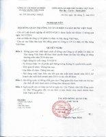 Nghị quyết Hội đồng Quản trị - Công ty Cổ phần Cơ điện và Xây dựng Việt Nam