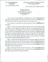 Nghị quyết Hội đồng Quản trị ngày 27-4-2011 - Công ty Cổ phần Đầu tư và Dịch vụ Khánh Hội