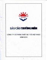 Báo cáo thường niên năm 2010 - Công ty cổ phần Thiết bị Y tế Việt Nhật