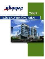 Báo cáo thường niên năm 2007 - Tổng Công ty Phát triển Đô thị Kinh Bắc-CTCP