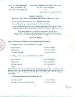 Nghị quyết Đại hội cổ đông thường niên năm 2013 - Công ty cổ phần Chứng khoán Đầu tư Việt Nam