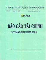 Báo cáo tài chính công ty mẹ quý 3 năm 2009 - Công ty Cổ phần Thương mại Hóc Môn