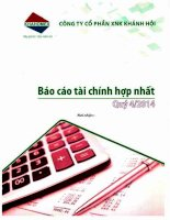 Báo cáo tài chính hợp nhất quý 4 năm 2014 - Công ty Cổ phần Đầu tư và Dịch vụ Khánh Hội
