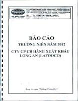 Báo cáo thường niên năm 2012 - Công ty Cổ phần Chế biến Hàng xuất khẩu Long An