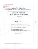 Báo cáo tài chính quý 3 năm 2012 - Công ty Cổ phần Dược phẩm IMEXPHARM