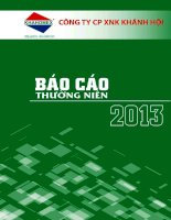 Báo cáo thường niên năm 2013 - Công ty Cổ phần Đầu tư và Dịch vụ Khánh Hội