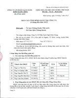 Báo cáo tình hình quản trị công ty - Công ty Cổ phần Gạch ngói Kiên Giang