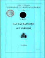 Báo cáo tài chính công ty mẹ quý 1 năm 2012 - Công ty Cổ phần Khoáng sản và Vật liệu xây dựng Lâm Đồng