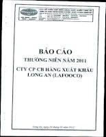 Báo cáo thường niên năm 2011 - Công ty Cổ phần Chế biến Hàng xuất khẩu Long An