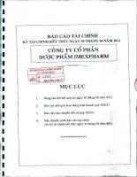Báo cáo tài chính quý 2 năm 2011 - Công ty Cổ phần Dược phẩm IMEXPHARM
