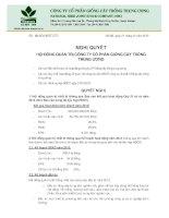 Nghị quyết Đại hội cổ đông - Công ty cổ phần Giống cây trồng Trung ương