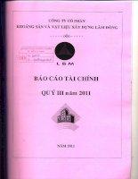 Báo cáo tài chính công ty mẹ quý 3 năm 2011 - Công ty Cổ phần Khoáng sản và Vật liệu xây dựng Lâm Đồng