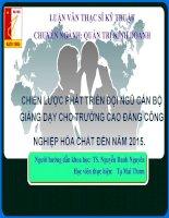 CHIẾN lược PHÁT TRIỂN đội NGŨ cán bộ GIẢNG dạy CHO TRƯỜNG CAO ĐẲNG CễNG NGHIỆP hểa CHẤT đến năm 2015