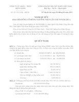 Nghị quyết Đại hội cổ đông thường niên năm 2011 - Công ty Cổ phần Sách - Thiết bị Trường học Kiên Giang