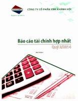 Báo cáo tài chính hợp nhất quý 2 năm 2014 - Công ty Cổ phần Đầu tư và Dịch vụ Khánh Hội