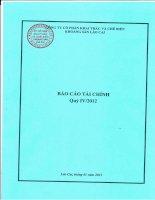 Báo cáo tài chính quý 4 năm 2012 - Công ty Cổ phần Khai thác và Chế biến Khoáng sản Lào Cai