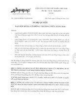 Nghị quyết Đại hội cổ đông thường niên - Tổng Công ty Phát triển Đô thị Kinh Bắc-CTCP