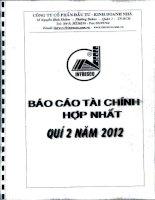 Báo cáo tài chính hợp nhất quý 2 năm 2012 - Công ty Cổ phần Đầu tư - Kinh doanh nhà