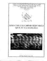 Báo cáo tài chính hợp nhất quý 4 năm 2011 - Công ty Cổ phần Phát triển Đô thị Từ Liêm