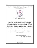 KIẾN THỨC, THÁI độ, THỰC HÀNH và TÌNH TRẠNG vệ SINH RĂNG MIỆNG của SINH VIÊN năm THỨ NHẤT đại học y hà nội SỐNG TRONG ký túc xá năm 2016