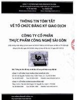Bản cáo bạch năm 2016 - CTCP Thực phẩm Công nghệ Sài Gòn