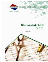 Báo cáo tài chính công ty mẹ quý 2 năm 2012 - Công ty Cổ phần Đầu tư và Dịch vụ Khánh Hội