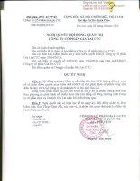 Nghị quyết Hội đồng Quản trị - Công ty cổ phần Gia Lai CTC