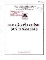 Báo cáo tài chính quý 2 năm 2010 - Công ty Cổ phần Gạch men Chang Yih