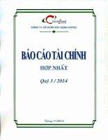 Báo cáo tài chính hợp nhất quý 3 năm 2014 - Công ty Cổ phần Xây dựng Cotec