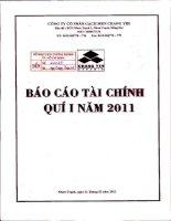 Báo cáo tài chính quý 1 năm 2011 - Công ty Cổ phần Gạch men Chang Yih