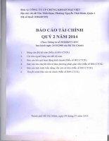 Báo cáo tài chính quý 2 năm 2014 - Công ty Cổ phần Chứng khoán Đại Việt