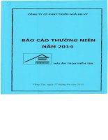 Báo cáo thường niên năm 2014 - Công ty Cổ phần Phát triển nhà Bà Rịa-Vũng Tàu