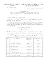 Nghị quyết Đại hội cổ đông bất thường - Công ty Cổ phần Du lịch và Xuất nhập khẩu Lạng Sơn