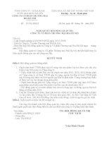 Nghị quyết Hội đồng Quản trị - Công ty Cổ phần Thương mại Bia Hà Nội