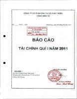 Báo cáo tài chính quý 1 năm 2011 - Công ty cổ phần Đầu tư và Phát triển Cảng Đình Vũ
