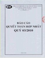 Báo cáo tài chính hợp nhất quý 3 năm 2010 - Công ty cổ phần Đầu tư Hạ tầng Kỹ thuật T.P Hồ Chí Minh