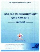 Báo cáo tài chính hợp nhất quý 3 năm 2015 - Công ty Cổ phần Xuất nhập khẩu Y tế Domesco