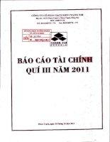 Báo cáo tài chính quý 3 năm 2011 - Công ty Cổ phần Gạch men Chang Yih