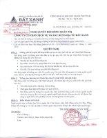 Nghị quyết Hội đồng Quản trị ngày 29-09-2011 - Công ty Cổ phần Dịch vụ và Xây dựng Địa ốc Đất Xanh