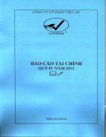 Báo cáo tài chính quý 4 năm 2012 - Công ty Cổ phần Việt An