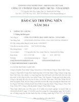 Báo cáo thường niên năm 2014 - Công ty cổ phần Than miền Trung - Vinacomin