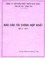 Báo cáo tài chính hợp nhất quý 2 năm 2011 - Công ty Cổ phần Phát triển nhà Bà Rịa-Vũng Tàu