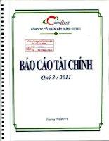 Báo cáo tài chính quý 3 năm 2011 - Công ty Cổ phần Xây dựng Cotec