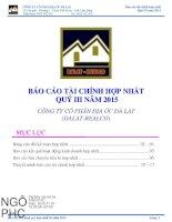Báo cáo tài chính hợp nhất quý 3 năm 2015 - Công ty Cổ phần Địa ốc Đà Lạt