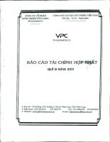 Báo cáo tài chính hợp nhất quý 3 năm 2011 - Công ty Cổ phần Dược phẩm Cửu Long
